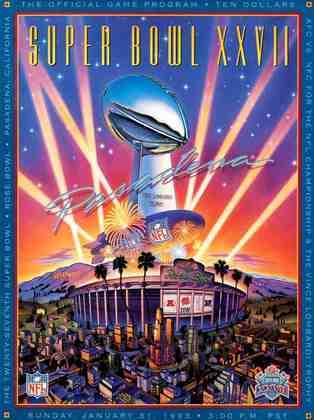 Super Bowl XXVII - Buffalo Bills foi derrotado pela terceira vez seguida na decisão. Desta vez, perdendo para o Dallas Cowboys: 52 a 17.