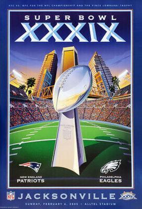 Super Bowl - XXXIX - A dinastia do New England Patriots ganhava mais um capítulo vencedor, com a dupla Tom Brady e Bill Belichick liderando o triunfo sobre o Philadelphia Eagles por 24 a 21, em Jacksonville.