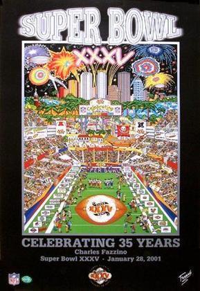 Super Bowl XXXV - Baltimore Ravens 34, New York Giants 7. Não teve disputa, teve doutrinação da defesa da franquia de Maryland na primeira conquista da história dos Ravens.