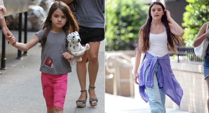 À esquerda, Suri Cruise com 6 anos, e atualmente, com 15 anos, à direita