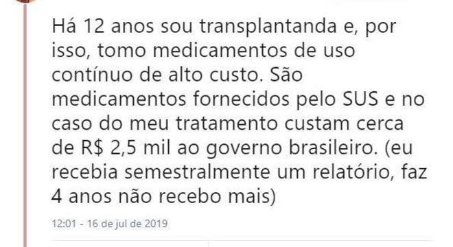 Medicamentos de transplantados têm custo elevado