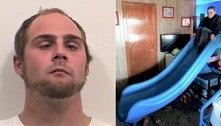 Suspeito é preso após ser acusado de furtar escorregador de 181 kg