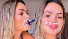 Filha de Kelly Key depila buço com lâmina de barbear
