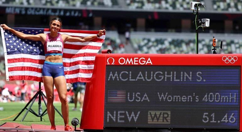 Sydney McLaughlin bateu o próprio recorde mundial dos 400m com barreiras