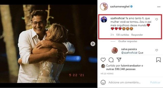 Szafir retribuiu carinho de Sasha em post no Instagram