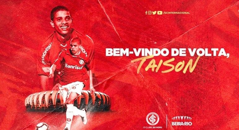 Com a #TaisonDay, Inter anuncia volta do atacante ao clube