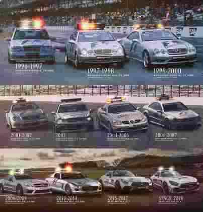 Também a partir de 1996, a Mercedes fechou parceria com a F1 para ser fornecedora exclusiva dos carros de segurança. Acima, todos os modelos de lá para cá