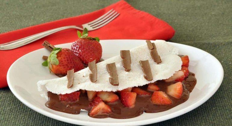 Tapioca de morango com chocolate