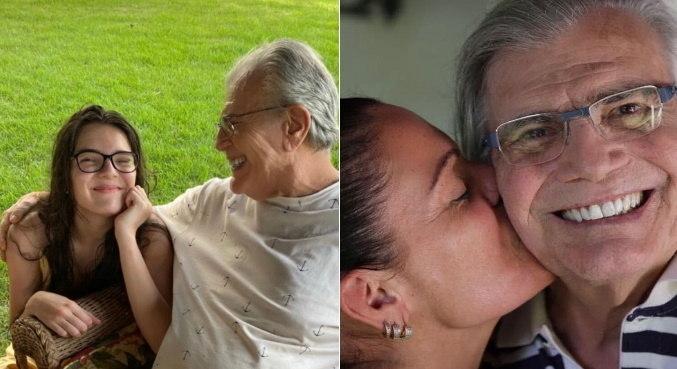 Lisa Fagundes com o avô à esquerda e Mocita Fagundes com o sogro à direita