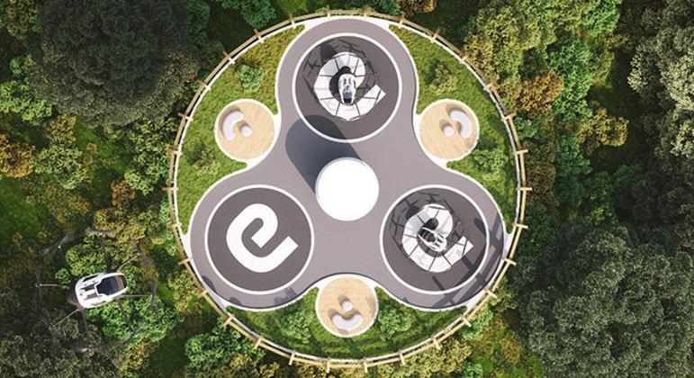 Táxis serão recarregados por painéis solares no topo da torre