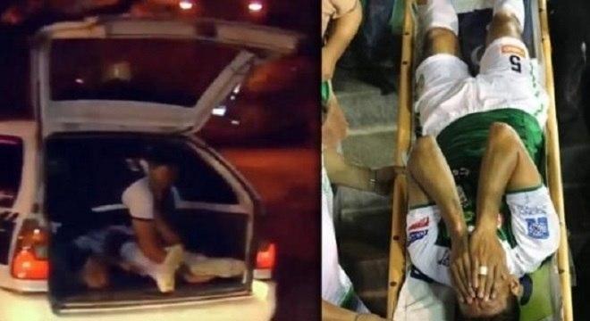 O Zagueiro Mario Cuéllar foi levado para o hospital em um porta-malas de táxi