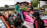 Com prestações de financiamento de carros por vencer, uma dascooperativas de Bangkok decidiu usar o teto dos carros como horta, cultivandouma pequena fazenda sobre o metal destes veículos