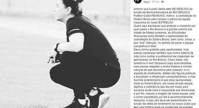 Técnica do Rio Branco preferiu pedir demissão a trabalhar no clube com Bruno