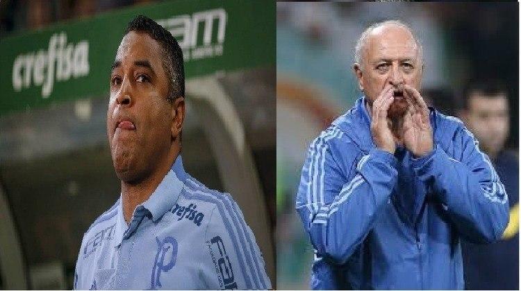 Roger Machado/Felipão - Palmeiras 2018: o Verdão trocou de treinador em julho de 2018, quando demitiu Roger e contratou Felipão. Com o veterano no comando, o clube foi campeão brasileiro daquela temporada