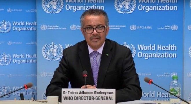 O diretor-geral da OMS Tedros Adhanom enfatizou a importância da testagem