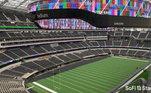 A tela colocada no SoFi Stadium tem displays instalados que formam um painel de vídeo suspenso central de 6,5 mil m² com dupla face. O telão de última geração não só apresenta a maior quantidade de LEDs já usados em uma arena destinada a esportes ou entretenimento, mas também tem a primeira e única produção de vídeo 4K completa em um estádio