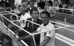 SPAIN SOCCER SPAIN 1982 FIFA WORLD CUP: SEVILLE, 14/06/1982.- Brazilian head coach Tele Santana (R) is seen prior their Spain 1982 FIFA World Cup soccer match against Soviet Union, at the Sanchez Pizjuan stadium. EFE/fs
