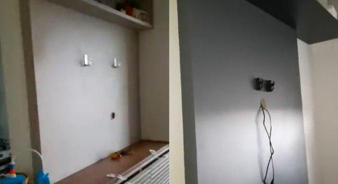 Imagens obtidas pela Record TV mostram que TVs da sala e do quarto foram levadas
