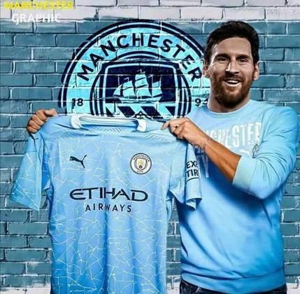 Tem até imagem da apresentação de Lionel Messi no Manchester City
