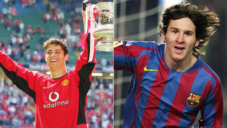 Temporada 2004/2005 - Cristiano Ronaldo (Manchester United) 50 jogos oficiais e 9 gols x Messi (Barcelona) 9 jogos oficiais e 1 gol
