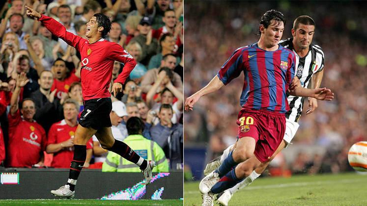 Temporada 2005/2006 - Cristiano Ronaldo (Manchester United) 47 jogos oficiais e 12 gols x Messi (Barcelona) 25 jogos oficiais e 8 gols