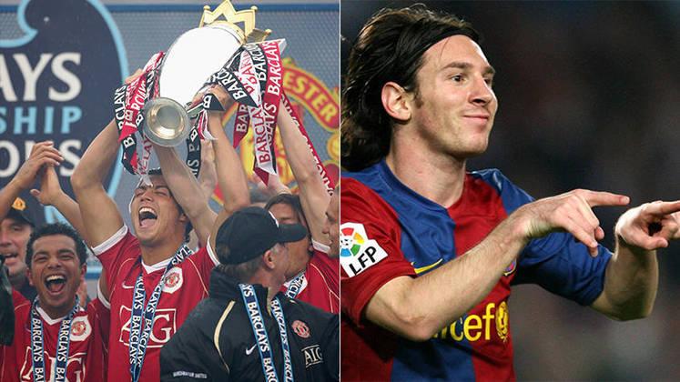 Temporada 2006/2007 - Cristiano Ronaldo (Manchester United) 53 jogos oficiais e 23 gols x Messi (Barcelona) 36 jogos oficiais e 17 gols