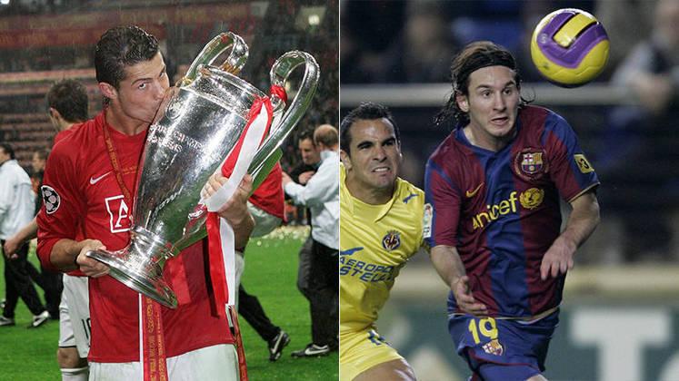 Temporada 2007/2008 - Cristiano Ronaldo (Manchester United) 49 jogos oficiais e 42 gols x Messi (Barcelona) 40 jogos oficiais e 16 gols