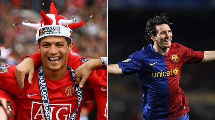 Temporada 2008/2009 - Cristiano Ronaldo (Manchester United) 53 jogos oficiais e 26 gols x Messi (Barcelona) 51 jogos oficiais e 38 gols