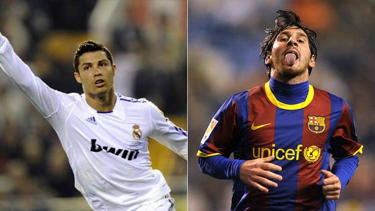 Temporada 2010/2011 - Cristiano Ronaldo (Real Madrid) 54 jogos oficiais e 53 gols x Messi (Barcelona) 55 jogos oficiais e 53 gols