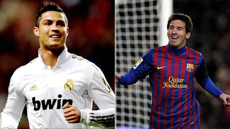 Temporada 2011/2012 - Cristiano Ronaldo (Real Madrid) 55 jogos oficiais e 60 gols x Messi (Barcelona) 60 jogos oficiais e 73 gols