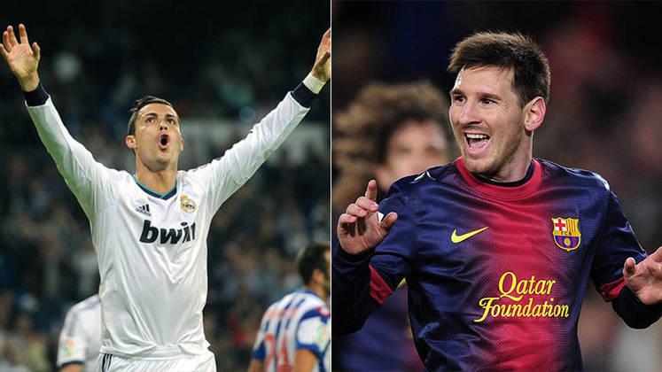 Temporada 2012/2013 - Cristiano Ronaldo (Real Madrid) 55 jogos oficiais e 55 gols x Messi (Barcelona) 50 jogos oficiais e 60 gols