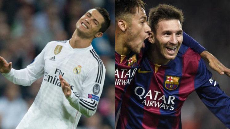 Temporada 2014/2015 - Cristiano Ronaldo (Real Madrid) 54 jogos oficiais e 61 gols x Messi (Barcelona) 57 jogos oficiais e 58 gols