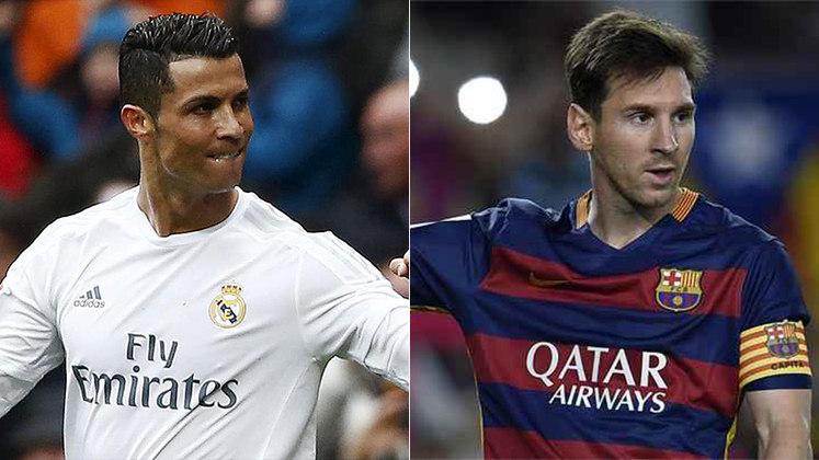 Temporada 2015/2016 - Cristiano Ronaldo (Real Madrid) 48 jogos oficiais e 51 gols x Messi (Barcelona) 49 jogos oficiais e 41 gols
