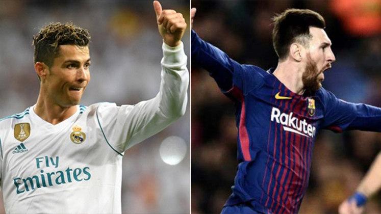 Temporada 2017/2018 - Cristiano Ronaldo (Real Madrid) 44 jogos oficiais e 44 gols x Messi (Barcelona) 54 jogos oficiais e 45 gols