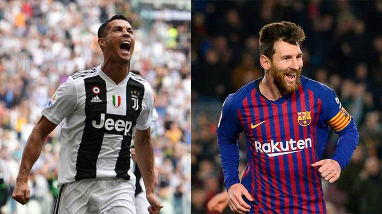 Temporada 2018/2019 - Cristiano Ronaldo (Juventus) 43 jogos oficiais e 28 gols x Messi (Barcelona) 50 jogos oficiais e 51 gols