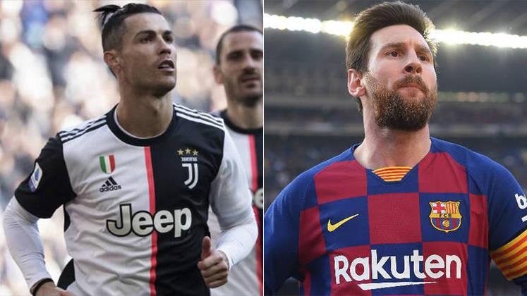 Temporada 2019/2020 - Cristiano Ronaldo (Juventus) 32 jogos oficiais e 25 gols x Messi (Barcelona) 31 jogos oficiais e 24 gols