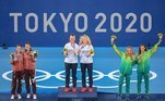 Tokyo 2020 Olympics - Tennis - Women's Doubles - Medal Ceremony - Ariake Tennis Park - Tokyo, Japan - August 1, 2021. Bronze medallists Laura Pigossi of Brazil and Luisa Stefani of Brazil celebrate on the podium