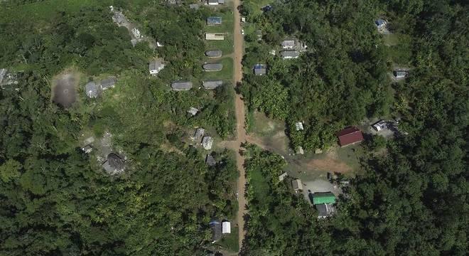 Vista aérea da aldeia
