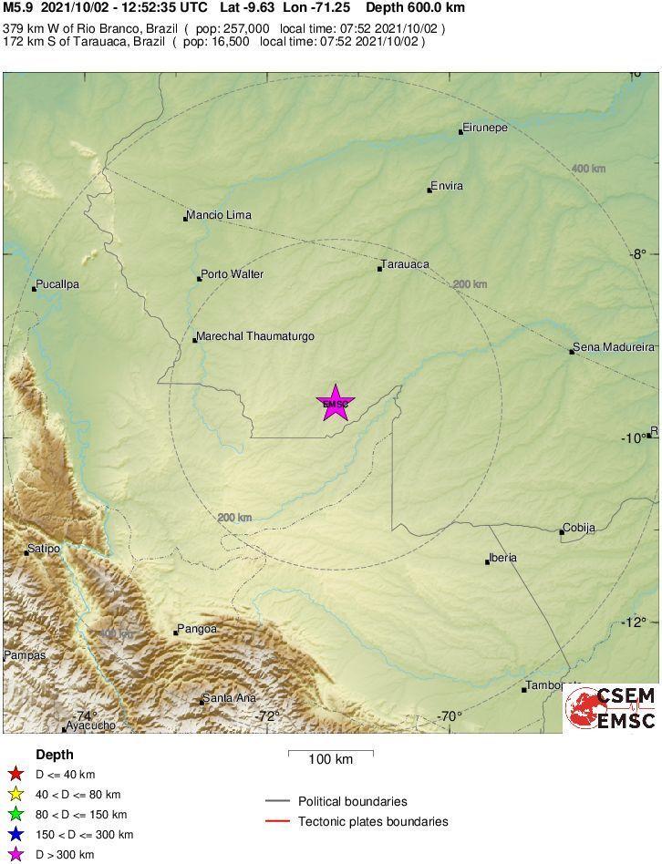 Mapa do Serviço Geológico dos Estados Unidos mostra o epicentro do terremoto