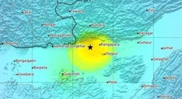 Epicentro dos tremores foi na cidade de Dhekiajuli, ao norte da principal cidade de Assam