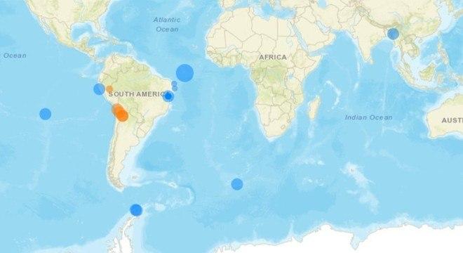 Mapa mostra atividades sísmicas ao redor do mundo