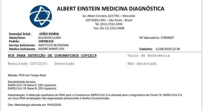 Após testar positivo para a covid-19, Doria diz estar sem sintomas