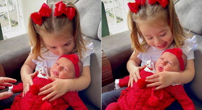 Thaeme compartilhou cliques cheios de fofura das filhas Liz e Ivy