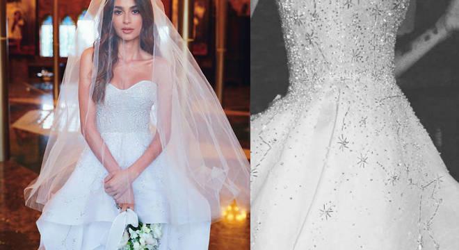 Bordado a 4 mãos, vestido de Thaila mostra céu no momento em que conheceu Renato