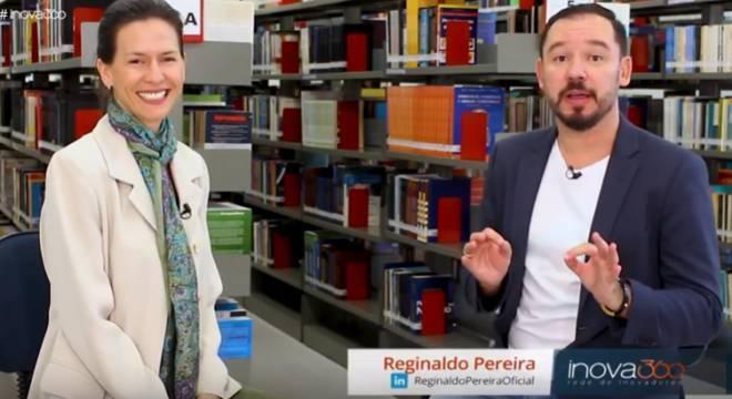 Thais Pegoraro, sócia da EXEC, e Reginaldo Pereira, apresentador