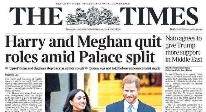 The Times, que trouxe a seguinte manchete: 'Harry e Meghan deixam seus papéis em meio a divisão no Palácio'