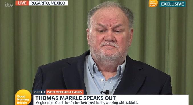 Em entrevista, Thomas Markle deu sua versão sobre briga com a filha