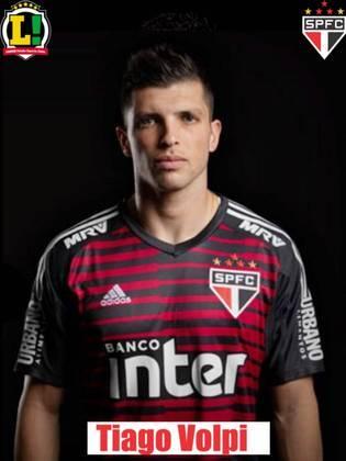 Tiago Volpi - 6,0: O goleiro do São Paulo foi pouco exigido na partida. Quando o Goiás chegou à meta, Volpi fez uma defesa difícil. A única bola que não conseguiu defender foi a do gol.
