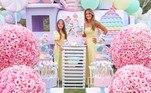 Ticiane Pinheiro e a aniversariante em meio ao mundo pastel anti-stress