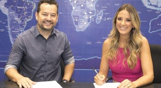Paulo Franco, superintendente artístico e de programação da Record TV e Ticiane Pinheiro